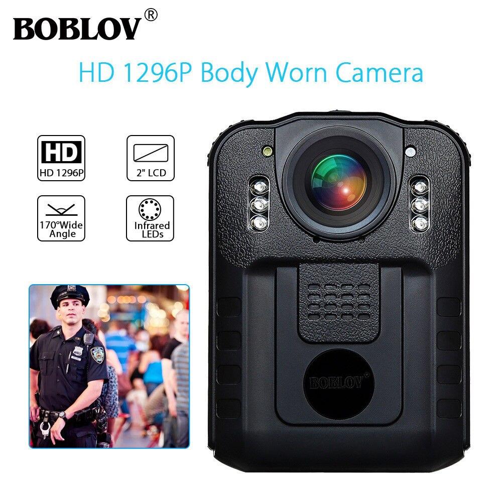 BOBLOV WN9 Novatek 96650 HD 1296 P Portable caméra fixe Police 32 GB 21MP 170 Degrés 2 Pouces Écran caméra de sécurité Mini camescope