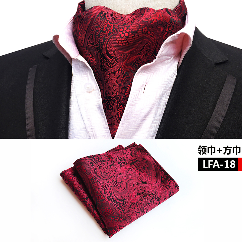 Red Paisley Scarf-Set Square Luxury Men With Pocket For Grooms Wedding Formal