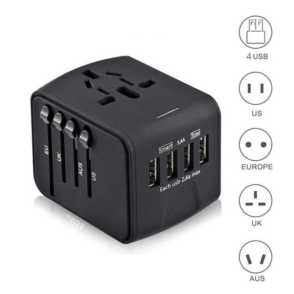 Reise Adapter Internationalen Universal Power Adapter Alle-in-one mit 3.4A 4 USB Weltweit Wand Ladegerät für UK /EU/AU/Asien