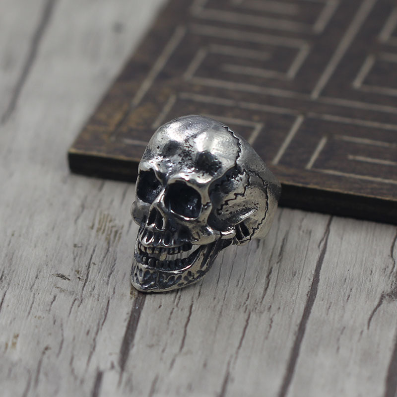 S925 Sterling Silver Jewelry Personalized Skeleton Head Ring Finger Ring Thai Silver Retro Couple Ring
