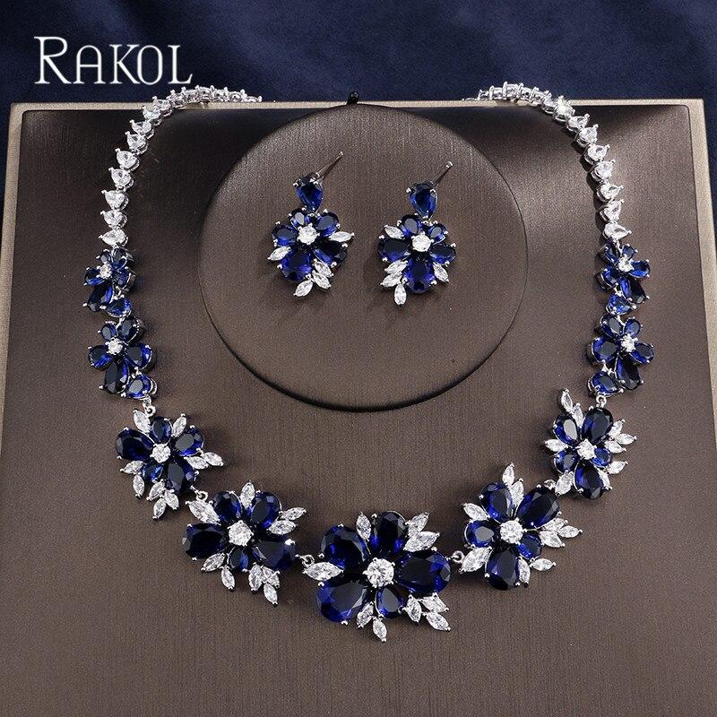 RAKOL Elegant Luxury Blue AAA CZ Zircon Crystal Flowers Pretty Wedding Necklace Earrings Set For Women