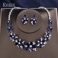 RAKOL Elegant Luxury Blue AAA+CZ Zircon Crystal Flowers Pretty Wedding Necklace Earrings Set For Women Dinner Dress Jewelry Set