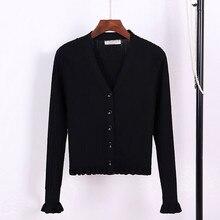 V-Neck Ruffle Knit Cardigan Sweater