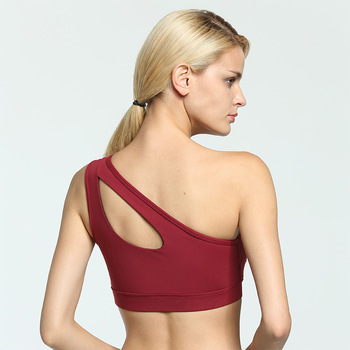 Sexy One Shoulder Fitness Yoga Push Up Sports Bra for Women Gym Running Padded Tank Top Athletic Vest Underwear Sport Bra Top 6