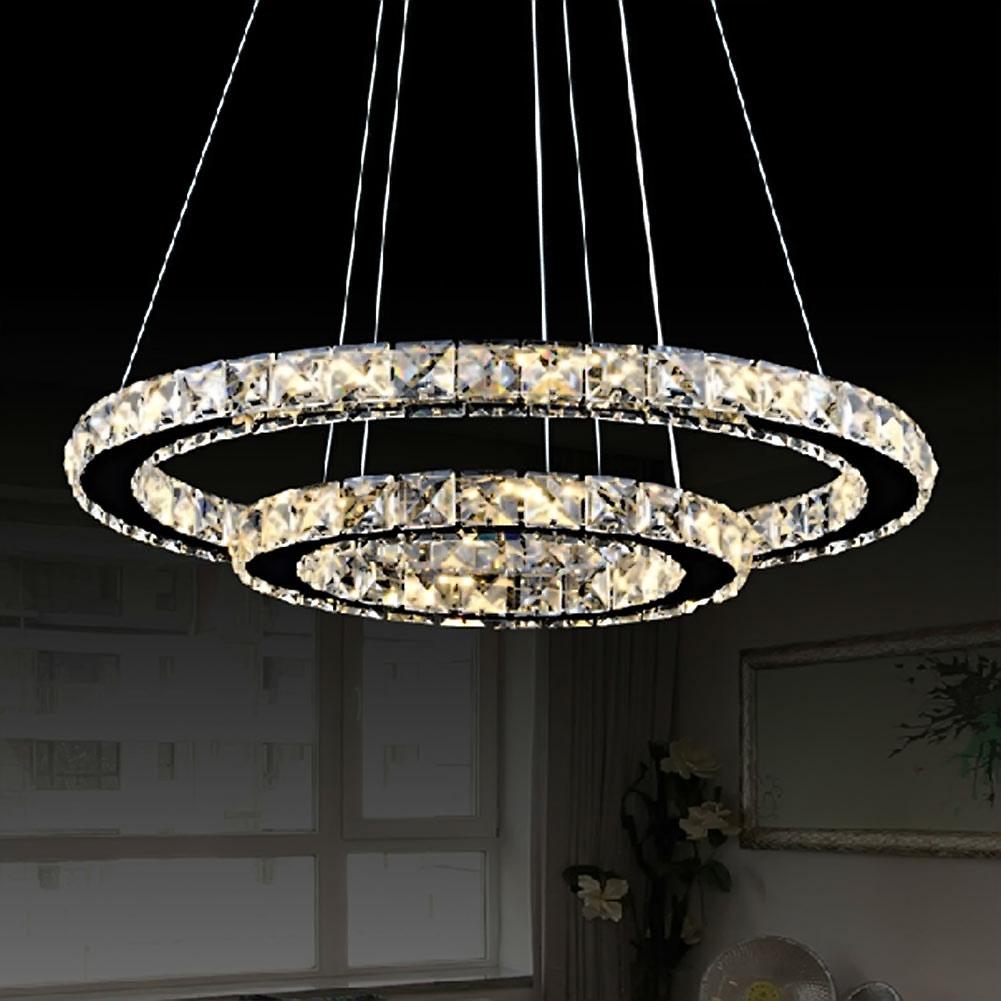 Lights & Lighting Ceiling Lights Modern Led Crystal Chandelier Circle Pendant Light Cristal Lustre Chandeliers Living Room Ceiling Lamp Led Dimming Fixtures For Sale