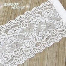 (Medidor de 3) 15 centímetros branco Tecido de renda elástica roupa interior oco estiramento Guarnição do laço DIY roupa interior