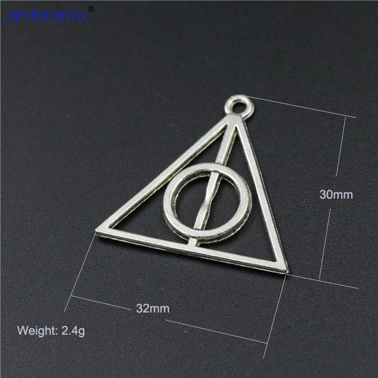 Death Charms-Pendants Potter Triangle Silver-Plated Antique 10pieces/Lot 30mm--32mm High-Quality