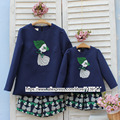 2-10 years old Child baby Girl Clothes Children clothing Mother daughter shirt and Pants embroidery little girl Women Coat 3XL