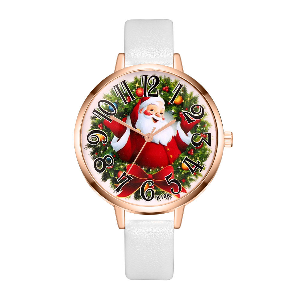 Women watches Christmas Leather Band Alloy Analog Vogue Quartz Wristwatches ladies rosefield watches zegarek damski woman