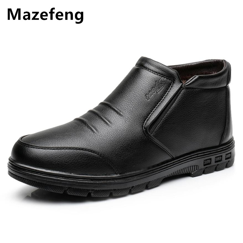 Mazefeng Winter New Men Dress Shoes With Velvet Trend Round Toe Business Affairs Men Leather Shoes Keep Warm Male Leather Shoes