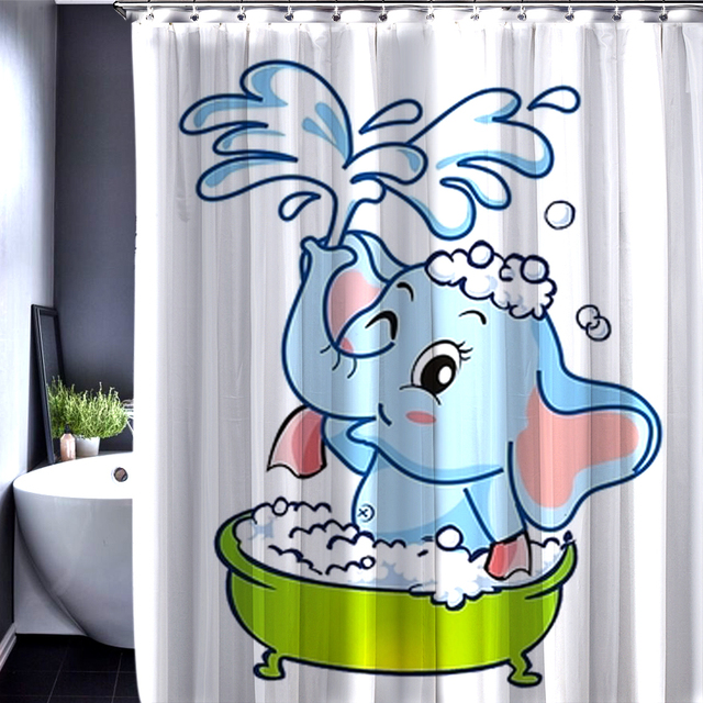 Superieur Customized Elephant Little Cute Girl Children Shower Curtain Bathroom Decor  Accessories Waterproof Polyester Fabric Home Decor
