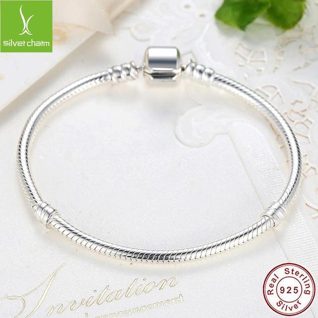Pulsera de lujo con cadena de plata de ley 100% para mujer, brazalete esencial con abalorio, regalo de Navidad, 925