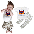 2017 Summer Baby Clothing Sets Infant Boy and Girl 2pcs Suit Fox T Shirt+Elk Pattern Pants Bebe Cotton Outfit Toddler Tracksuit