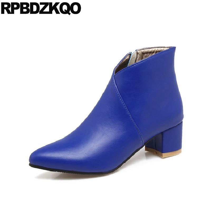 10 Sexy Fur Chunky Ladies Pointed Toe Blue Fall Women Ankle Boots Medium Heel 12 44 Autumn 13 45 Big Size Booties 41 New Female female tassel british 2017 fall autumn high heel booties brown chunky fringe shoes suede round toe women ankle boots medium new