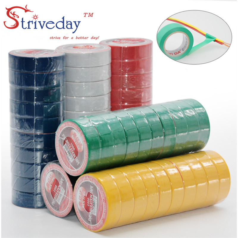 10pcs/lot Electrical Tape High Temperature Insulation Tape Waterproof PVC Tapes DIY 6 Colors Available