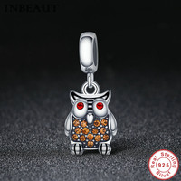 INBEAUT Princess Real 925 Sterling Silver Lovely Brown CZ Red Cubic Zirconia Paved Eye Owl Pendant