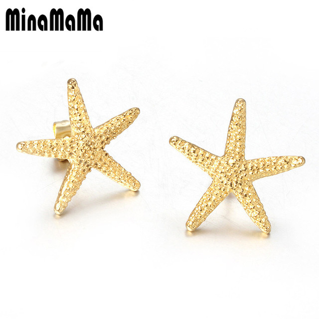 Simple Elegant Gold Color Starfish Earrings Cute Sea Star For Women Stainless Steel Stud