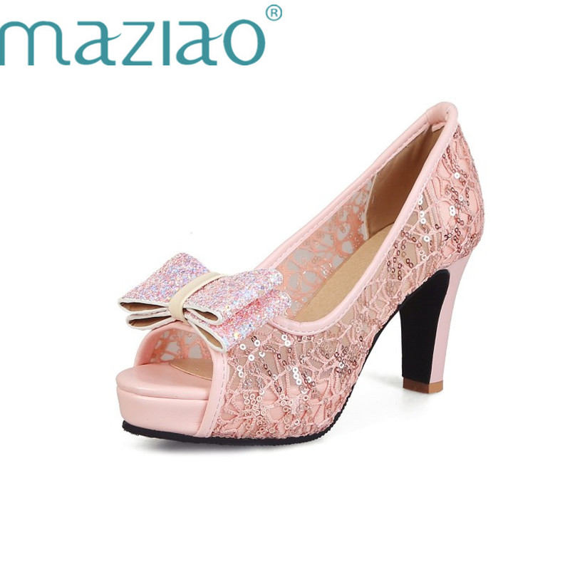 Peep Mujer Con Malla Negro Otoño Altos Tacones Fiesta Zapatos Verano Bombas Primavera rosado Aire De nudo Maziao Plataforma Mariposa Boda blanco 2019 Mujeres Toe w0IaAI