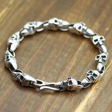 925 Sterling Silver Skeleton Skull Men Bracelet Width 9mm Real Silver Punk Vintage Skull Chain Bracelets Jewelry Christmas Gifts недорого