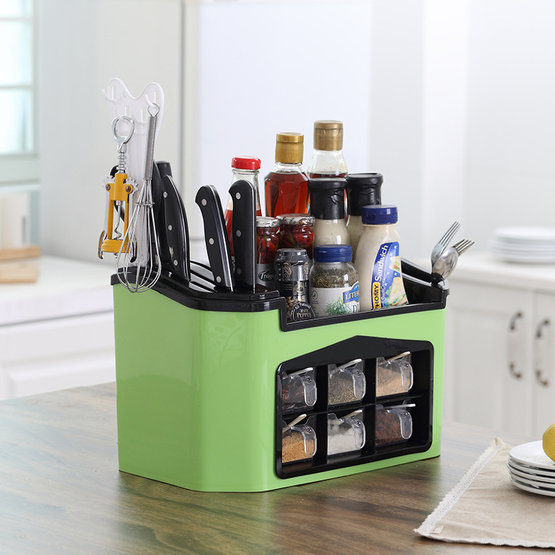 0388e5a11e38 US $36.87 39% OFF New Kitchen Gadget Spice Rack Filter Plastic Kitchen  Organizer Shelf For Spices Supplies Seasoning Jar Storage Kitchen Tool-in  Racks ...
