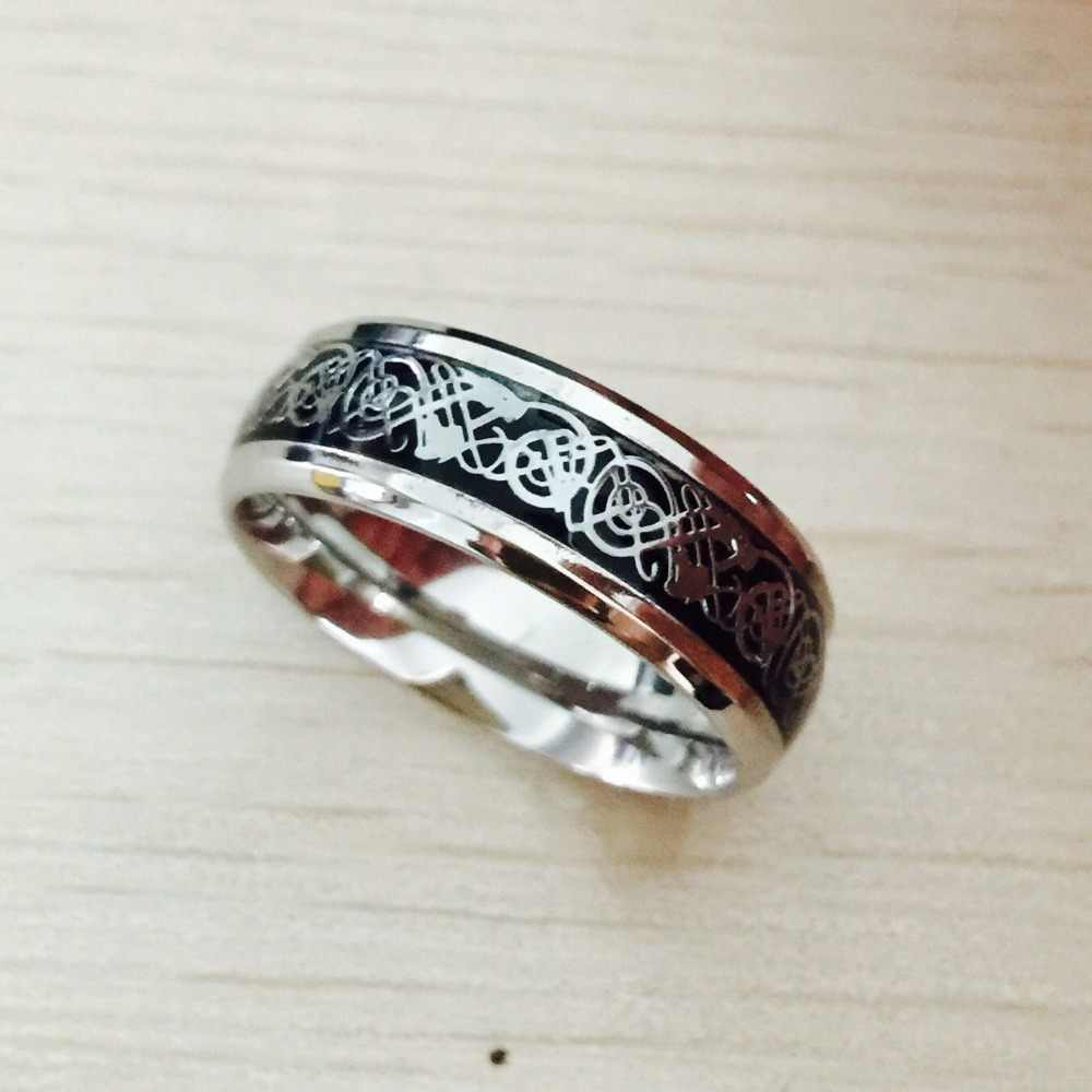 Vintage silver Free Shipping Dragon 316L stainless steel Ring Mens Jewelry for Men lord Wedding Band male ring for lovers