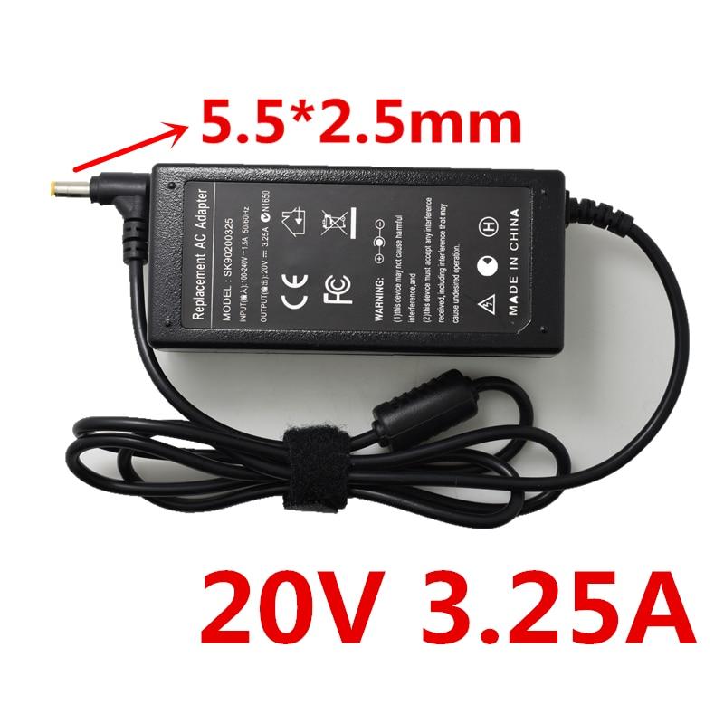 A HSW 20 v 3.25A 5.5*2.5 Laptop Adaptador Ac Carregador de Lenovo IdeaPad G575 G580 G770 G780 N580 N581 n585 N586 P500 P580 P585
