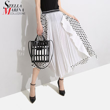 New 2019 Korean Style Women Summer A-Line Long Skirt Empire Dotted Part Patchwork Elastic Waist Female Stylish Unique Skirt 4730(China)