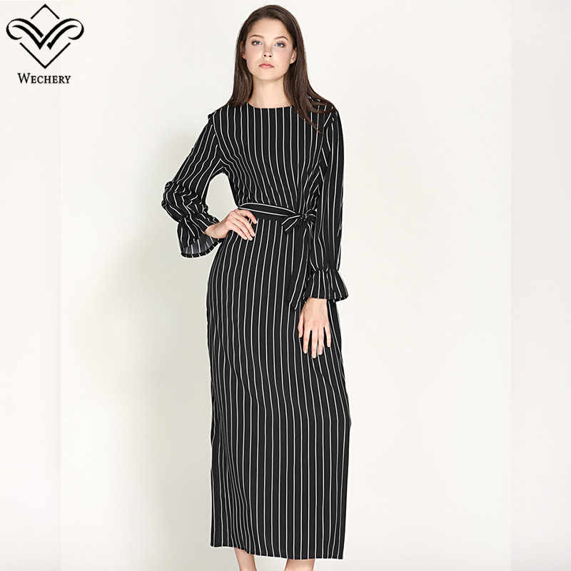 Wechery Womens Striped Long Dress Slim Long Abayas Islamic Muslim Style  Plus Size Black White Turmpet 4b65b065b71d