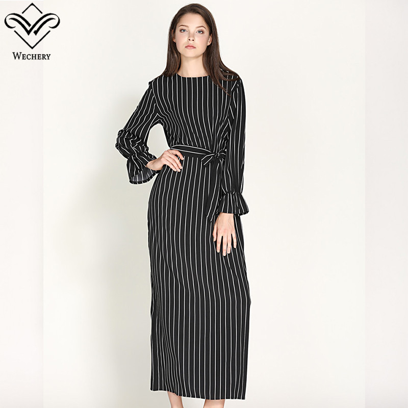 Wechery Womens Striped Long Dress Slim Long Abayas Islamic Muslim ...