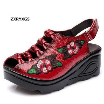 ZXRYXGS Brand Sandals Embroidered Shoes Woman Fashion Sandals 2019 Summer Breathable Genuine Leather Shoes Wedges Women Sandals
