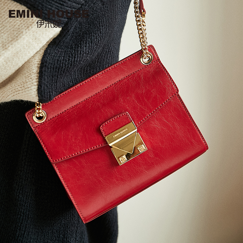 EMINI HOUSE Oil Wax Chain Bag Split Leather Crossbody Bags For Women Messenger Bag Luxury Handbags
