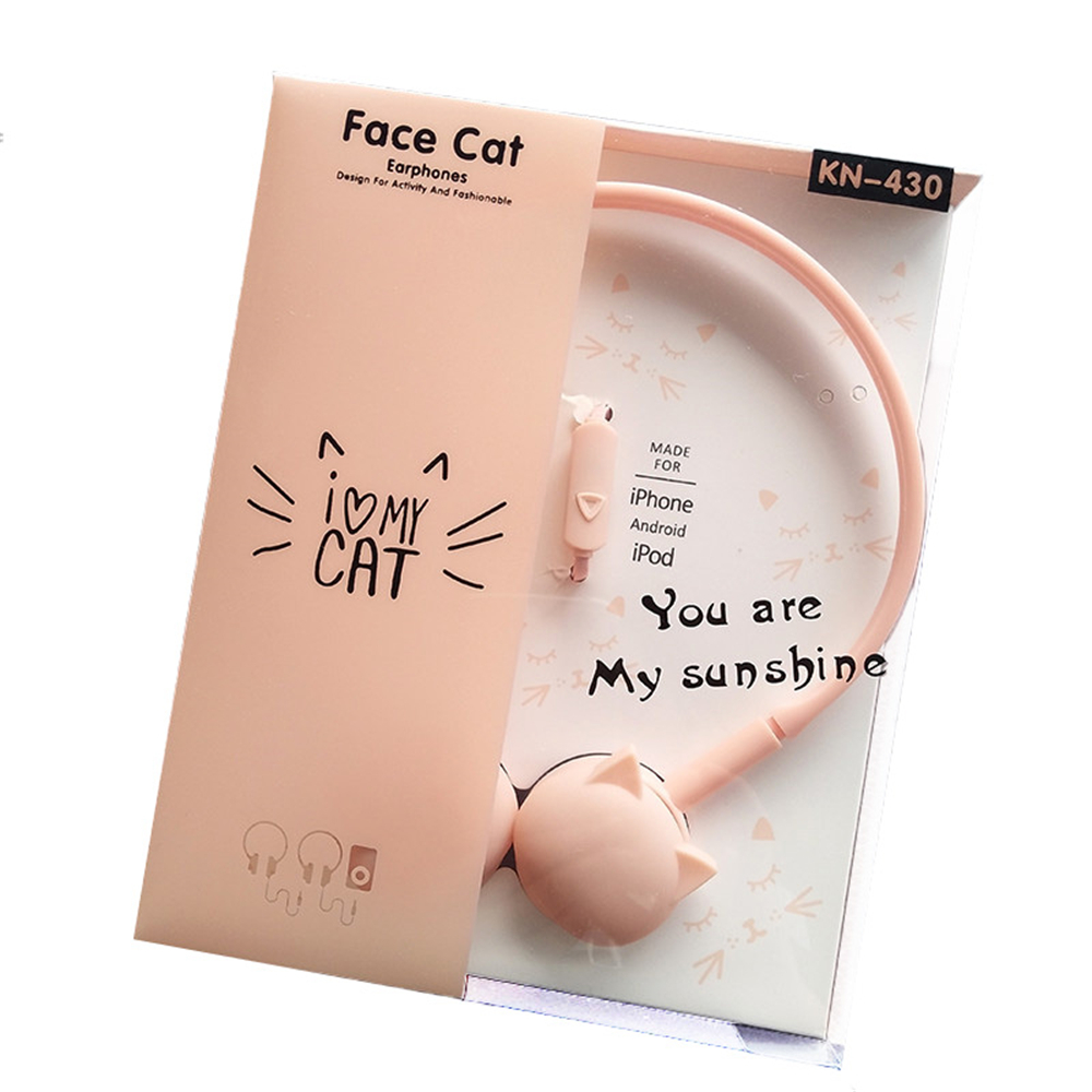 Cute Cat Headphones 3.5mm Colored Stereo Pink Headset for mobile phone Samsung Xiaomi MP3 Kids Student Girls Birthday Gifts