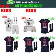 Melhor qualidade 2018 2019 PSG crianças kit + meias de futebol Jerseys  MBAPPE survêtement camisetas camisa 4a545716674bb