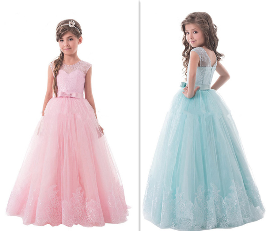 2017 Pretty Flower Girl Dress Ball Gown Lace Tulle Little Girl Pageant Gowns Kids First Communion Dresses Custom Made 2017 red cute flower girl dress for wedding with crystals ruffle tulle baby lace dress little kids pageant gowns