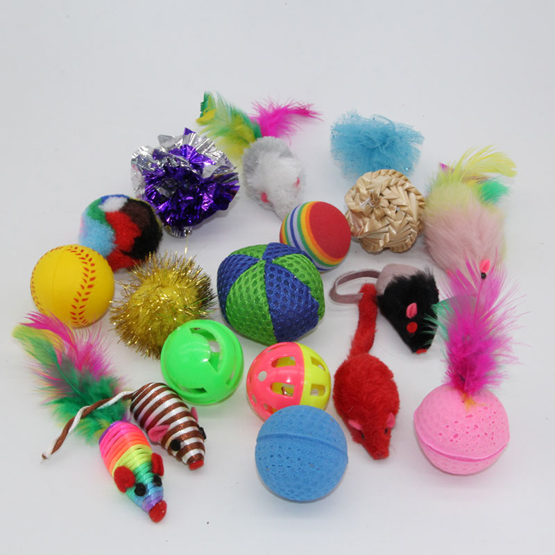 Westrice 18 Variety Small Mini Playing Mouse Toys Gift voor katten Dogs Kitten Value Pet Toys Packs, Mouse, Ball, Socks