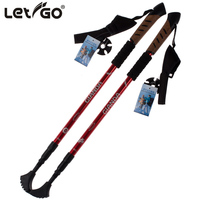 2 PCS Nordic Walking Stick Trekking Hiking Poles Straight Grip Cane Climbing RED BLUE BLACK 1