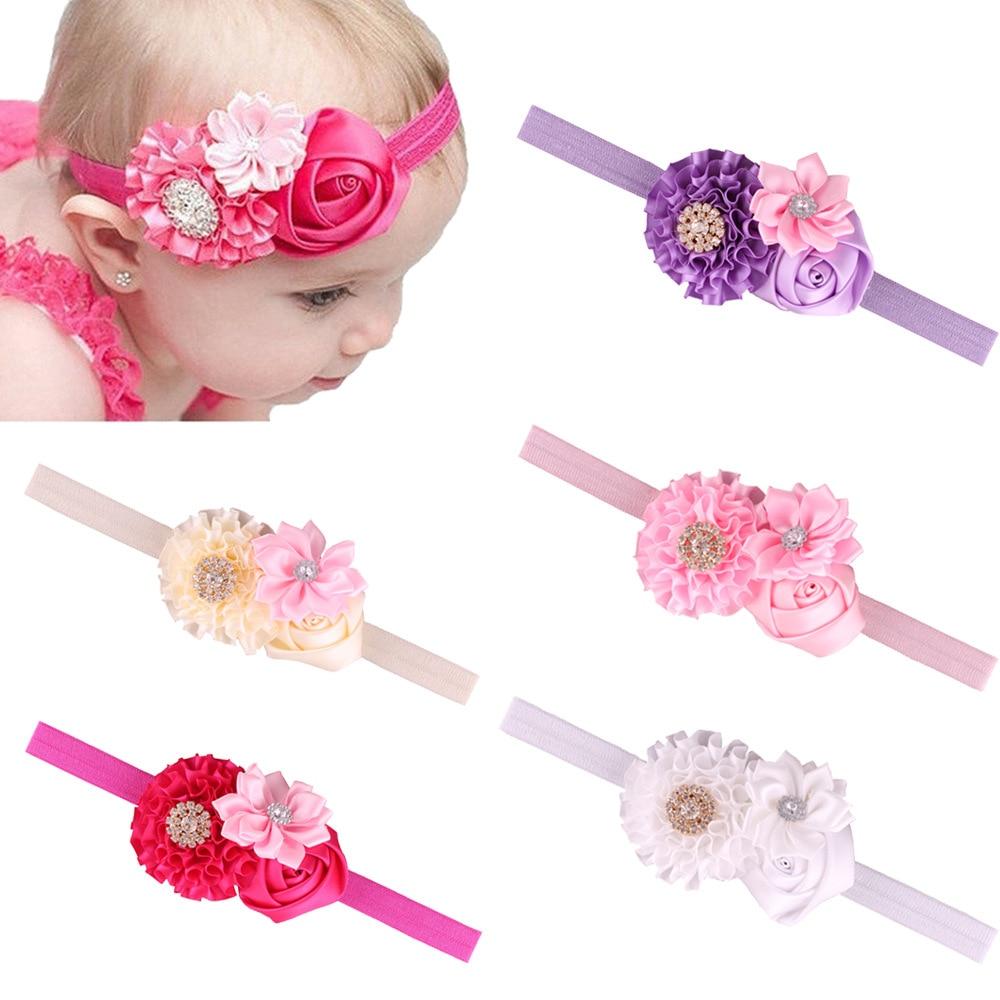 Baby Kids Girls Rhinestone Headband Ribbon Rose Flower Hair Band Headwear Well