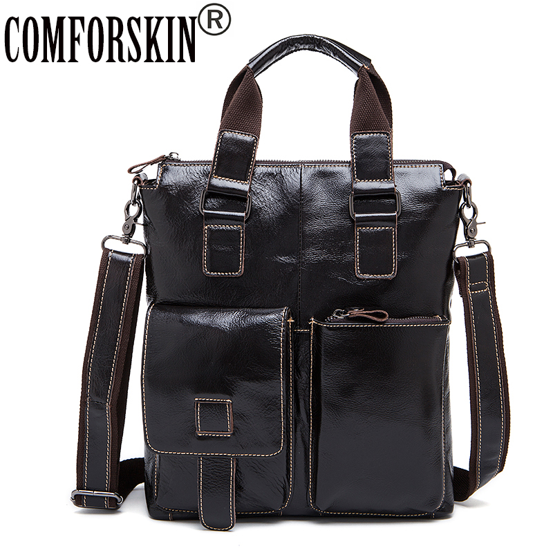 COMFORSKIN Premium 100% Genuine Leather Large Capacity Men's Totes 2018 New Arrivals Men Leather Bag Bolsos For Men High Quality 2016 new genuine polo brand golf bag for men s clothing bag women pu bag large capacity high quality