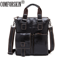 COMFORSKIN Premium 100 Genuine Leather Large Capacity Men S Totes 2018 New Arrivals Men Leather Bag