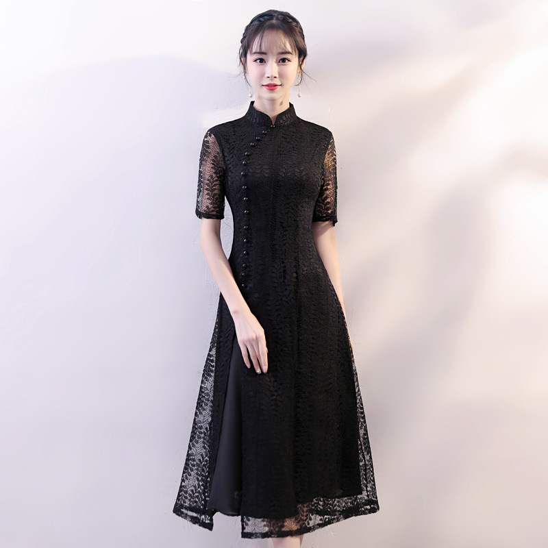 New Red Elegant Chinese Style Evening Dress Women Lace Sexy Mid Calf  Cheongsam Vintage Vietnam Aodai Slim Loose Qipao -in Cheongsams from  Novelty   Special ... dbbcb55954a6