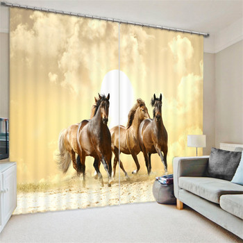 Luxury black white horse 3D Blackout Window Curtains For Living room Bedding room Drapes Cotinas para sala Decorative