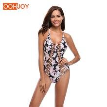 купить New Sexy Floral Print Monokini Women One Piece Swimsuit  Hollow Braided Swimwear S-XL Girl Cross Back Bandage Bathing Suit по цене 921.31 рублей