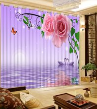 3D Curtains Window Curtain Living Room Green Leaf Flower Swan In Water Fabric Curtains Printed Curtain Home Bedroom Decoration(China)