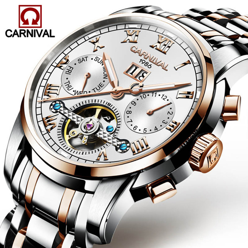 все цены на Mens Multifunction Automatic Mechanical Watches Men Luxury Tourbillon Watch Male Stainless Steel Luminous Wristwatches Relogios