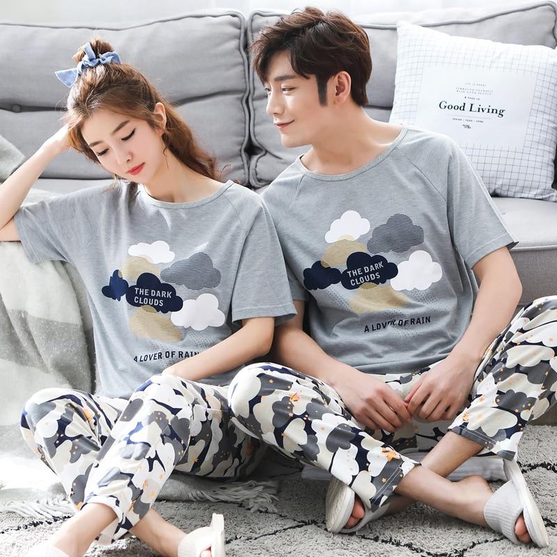 Men Pyjamas Homewear Couple Summer Short-Sleeve Casual 100%Cotton 3XL Suit Print Lingerie