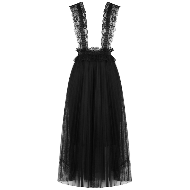 2018 women casual high-waist pleated medium long mesh skirt new summer solid color strap lace skirt 1201