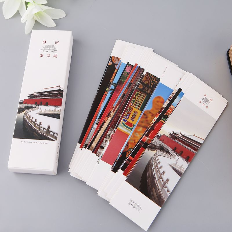 30pcs Chinese Style Paper Bookmarks Painting Cards Retro Beautiful Boxed Bookmark Commemorative Gift C26