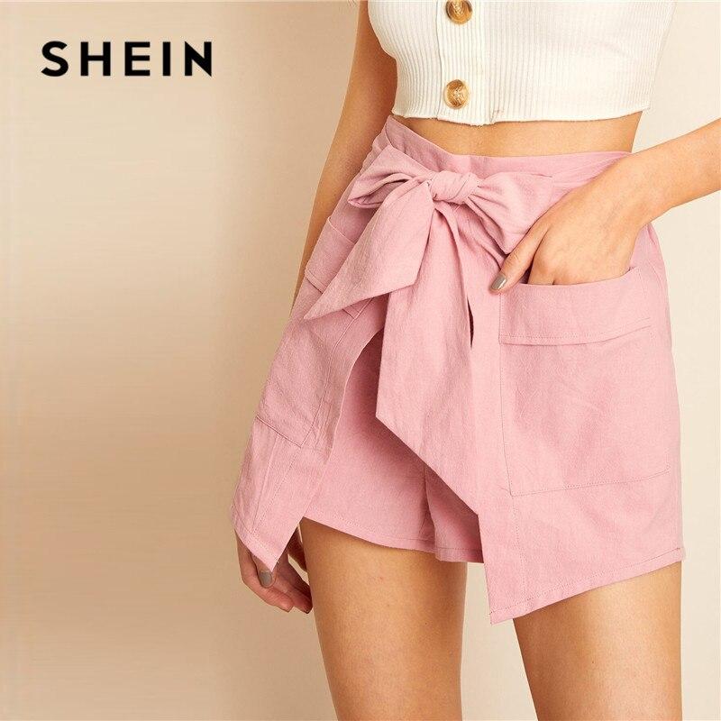 SHEIN Tie Waist Wrap Solid Belted Summer Shorts Womens Clothing Casual High Waist Shorts Pocket Elastic Waist Pink Shorts