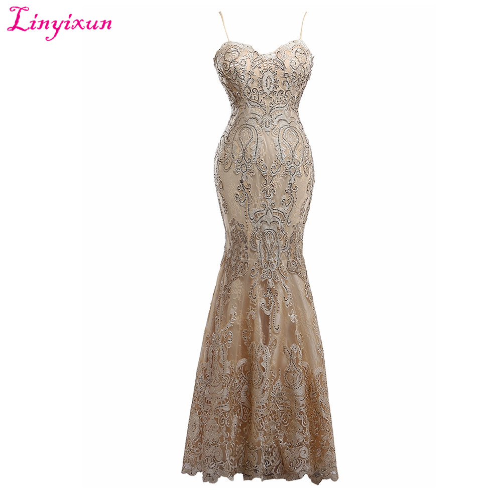 Linyixun Real Photo Sexy Lace Beaded Mermaid   Prom     Dresses   2017 Spaghetti Strap Party Gown Sleeveless Sweep Train Evening   Dresses