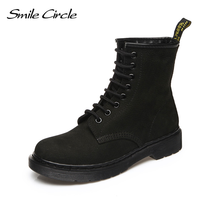 Size 34-44 Women Winter Boots Genuine Leather Martin Boots Fashion Lace-up motorcycle Snow boots Warm plush Women Platform shoes top 2017 women snow boots wool fur inside lace up nubuck genuine leather fashion brand black brown martin motorcycle shoes